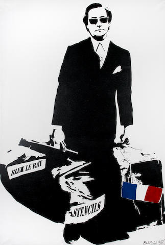 Blek Le Rat (b.1952) Man That Walks Through Walls signed and dated 2007; signed and dated 2007 on the reverse spray paint on canvas, in a perspex box frame 200 by 130 cm.  78 3/4 by 51 3/16 in. This work is from an edition of 3.