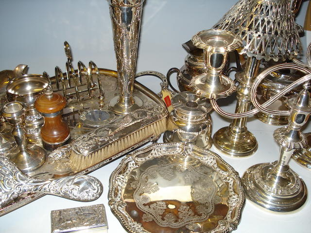 A pair of three light candelabra,  (Qty)