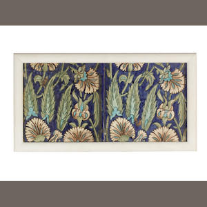 William De Morgan Two Framed Eight Inch Floral Tiles, circa 1890