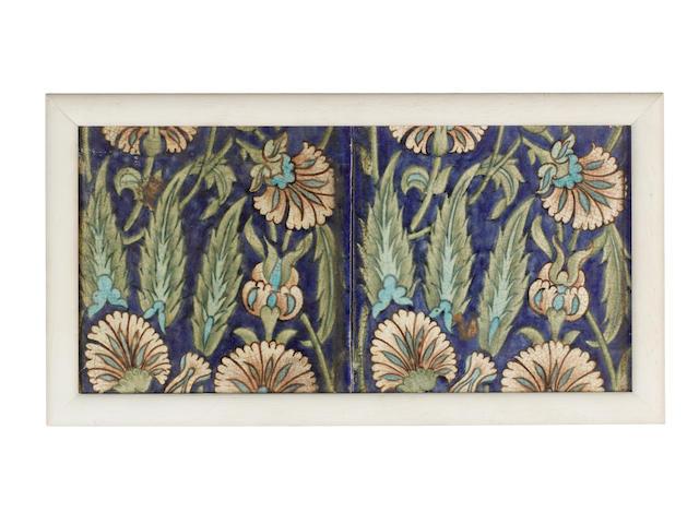 William De Morgan Two Framed Eight Inch Floral Tiles, circa 1890