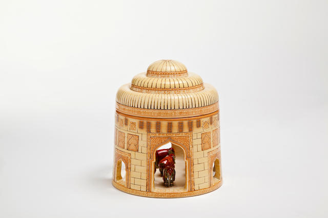 Buchan Dennis for Dennis Chinaworks 'Indian Elephants' a Gold lustred Lidded Elephant Stable, 2011