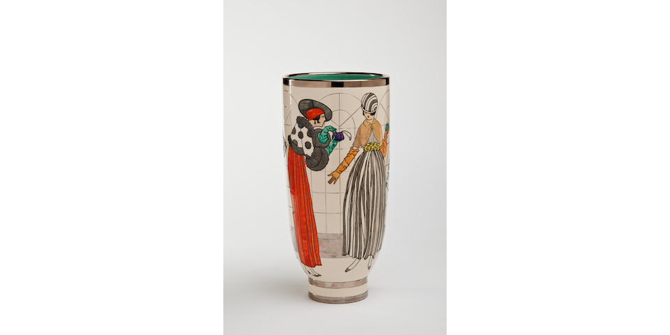 Sally Tuffin for Dennis Chinaworks 'Spring Shoppers' A Silver and Gold lustred Deco Vase, 2011