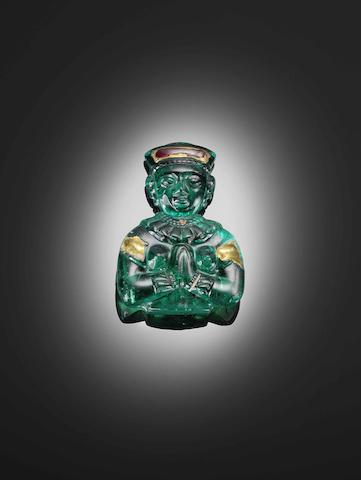 A rare South Indian carved emerald figurine, 18th century