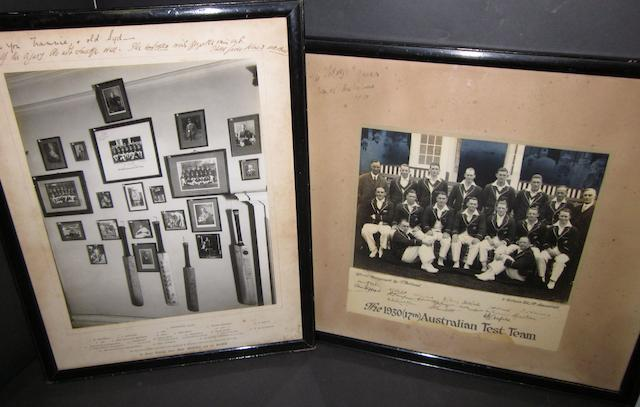 A signed photograph of the 1930's Australian cricket squad