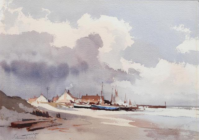 Edward Seago R.W.S. (British, 1910-1974) Long shore boats, Norfolk