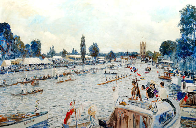 Jeremy King (British, 1933) Henley Regatta Finish Line