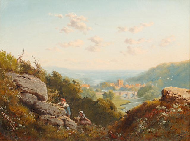 Edmund John Niemann (British, 1813-1876) Extensive landscape with distant view of a town and children climbing rocks in the foreground