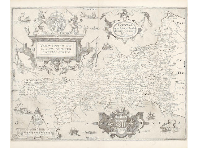 SAXTON (CHRISTOPHER) Promontorium hoc in mare proiectum Cornubia dicitur, fine and rare double-page engraved map by William Webb, [1645]