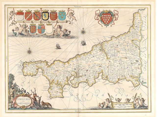 JANSSONIUS (JOANNES) Cornubia sive Cornwallia, double-page engraved map, hand-coloured in outline, [1646]