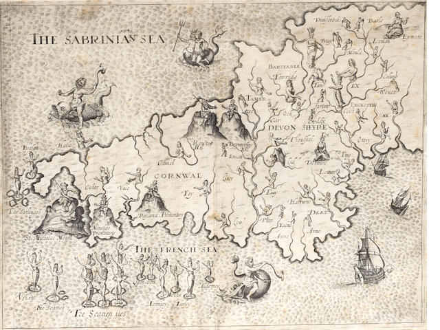 HOLE (WILLIAM) [Cornwall and Devon, from Drayton's 'Poly-Olbion'], allegorical double-page engraved map, [1612]