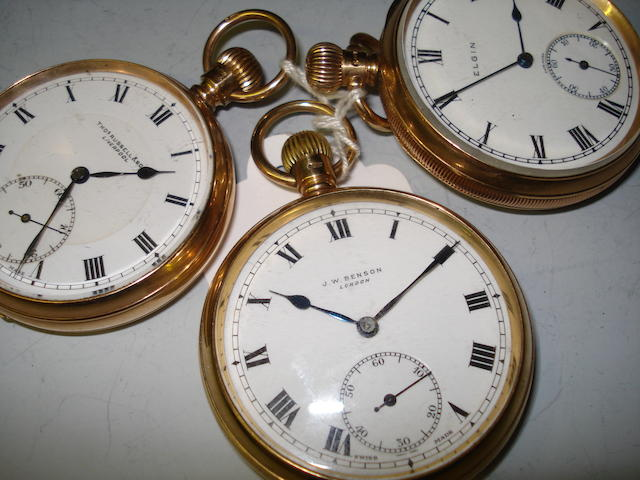 A 9ct gold Elgin open face keyless wound pocket watch