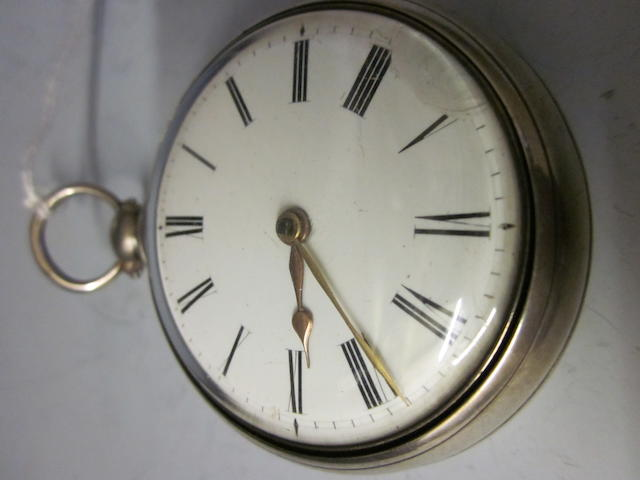 A silver cased verge pocket watch