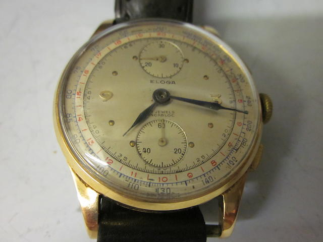 Eloga; an 18k gold chronograph wristwatch