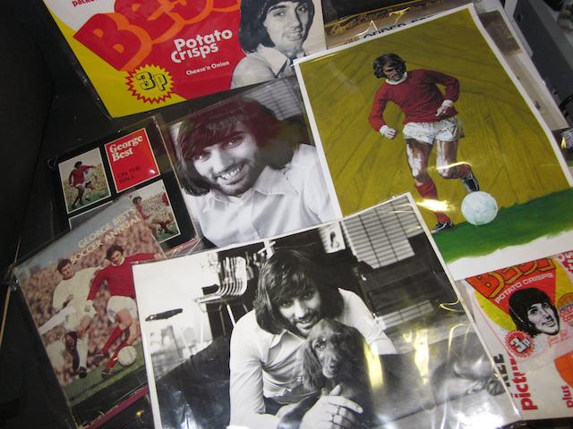 A collection of George Best memorabilia including advertising ephemera