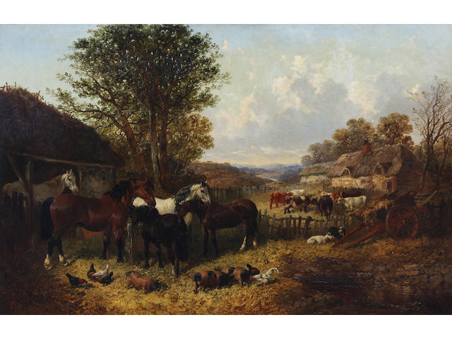 John Frederick Herring, Jnr. (British, 1815-1907) 'An English Homestead' 61 x 92cm.