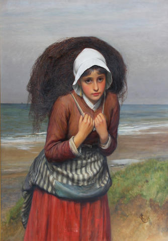 Charles Sillem Lidderdale, RBA (British, 1831-1895) Young fishergirl carrying a net 89 x 68.5cm.