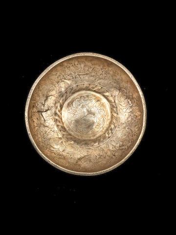 An engraved Ottoman (Balkans) silver bowl, 17th century