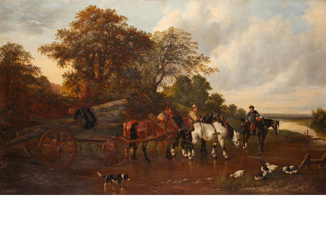 Circle of John Frederick Herring, Jnr. (British, 1815-1907) Carting timber,
