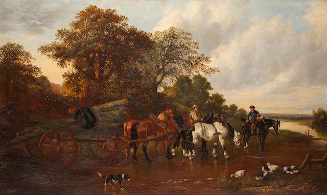 Circle of John Frederick Herring, Jnr. (British, 1815-1907) Carting timber,