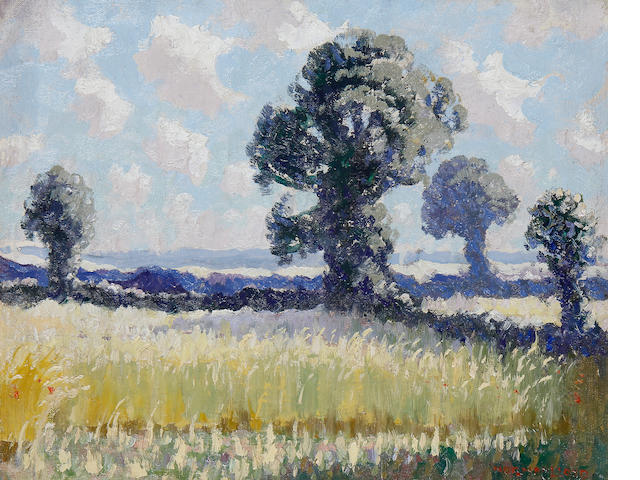 Norman Lloyd (Australian, 1897-1985) Summer Landscape with Trees 32 x 39 cm. (12 1/2 x 15 1/4 in.)