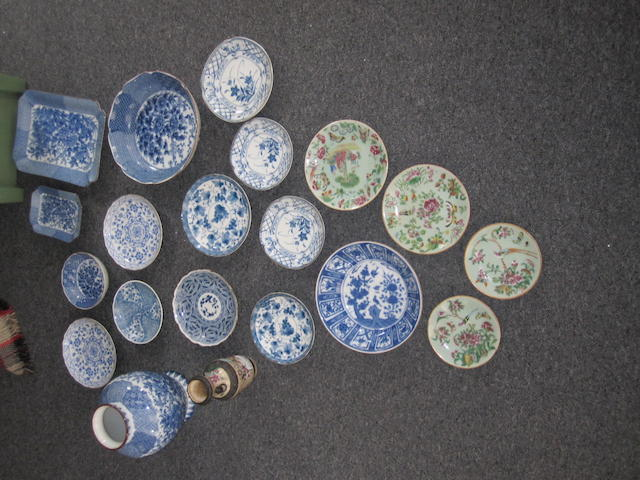 A collection of modern blue and white porcelainof Chinese design together with four green ground Chinese plates and a Chinese famile rose vase.