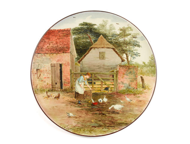 Linnie Watt for Doulton Lambeth a Superb Faience Wall Charger with Farmyard Scene, circa 1880