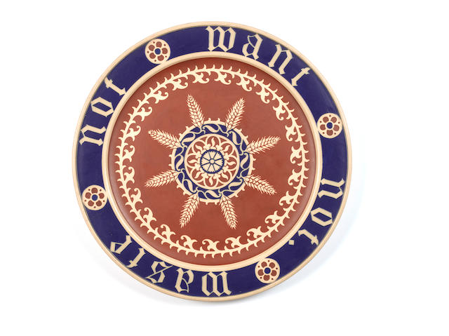 A.W.N Pugin for Minton 'Waste Not Want Not' a Bread Plate, circa 1865