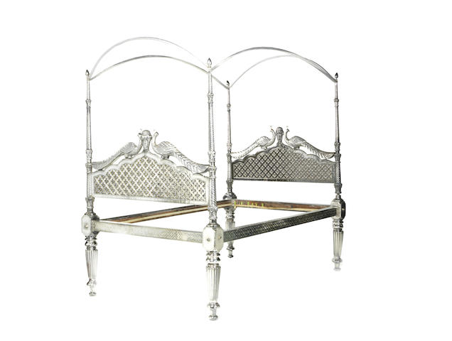 An impressive North Indian 19th century silver sheet-covered wood tester bed