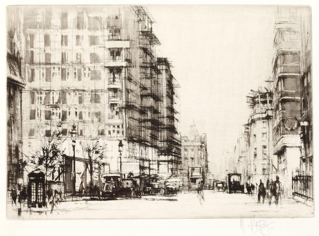William Walcot (British, 1874-1943) Marsham Street, Westminster signed in pencil etching 17.5 x 25cm, and a similar smaller etching by the same. (2)