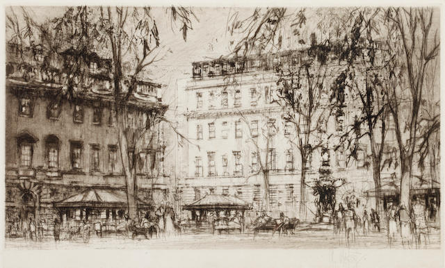William Walcot RA (British, 1874-1943) London Street scene signed in pencil etching 16.5 x 25cm, and another similar by the same. (2)