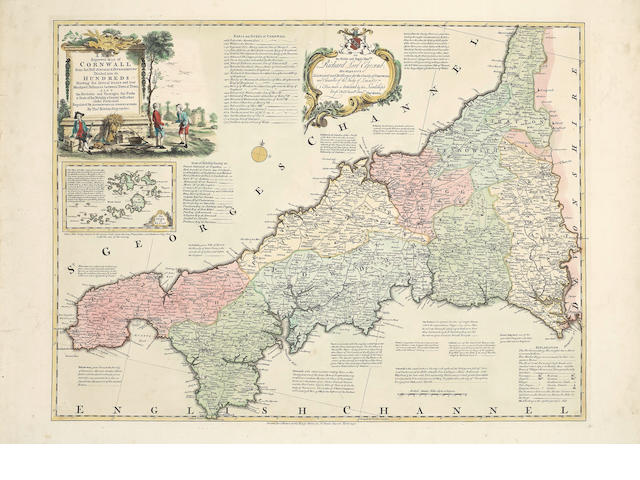 KITCHIN (THOMAS) A New Improved Map of Cornwall, large hand-coloured double-page engraved map, 1750