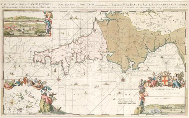 HOOGHE (ROMEIN DE) Carte maritime de l'Angleterre depuis les Sorlingues jusques à Portland, large hand-coloured engraved chart, 1693