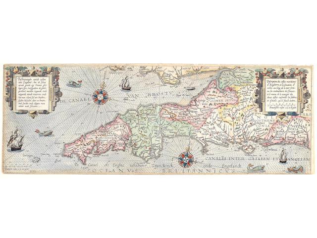 WAGHENAER (LUCAS JANSZ) Beschrijvinghe vande costen van Engelandt..., double-page engraved map and sea chart, [1592]