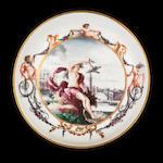 A very rare Cozzi topographical saucer, circa 1765-70