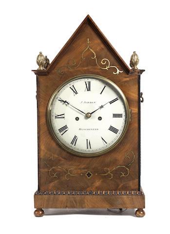 A Regency brass inlaid mahogany bracket clock J.Jordan, Manchester