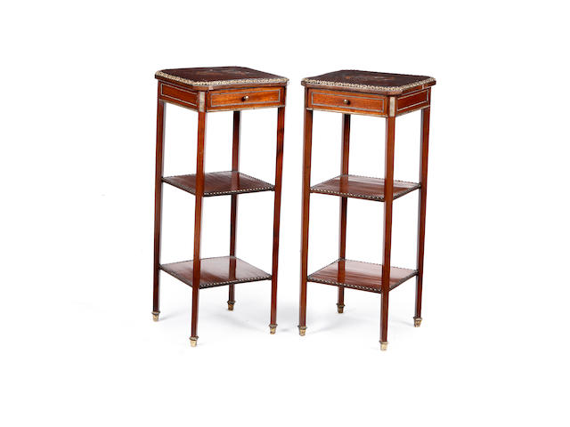 A pair of French early 20th century gilt metal mounted mahogany and marquetry occasional tables in the Transitional style