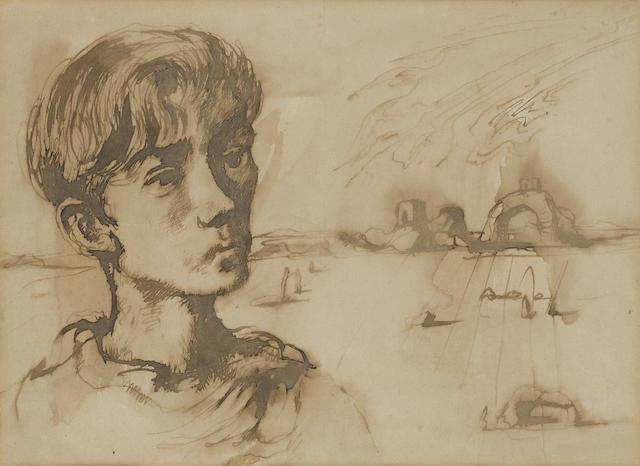 John Minton (British, 1917-1957) Portrait with landscape beyond