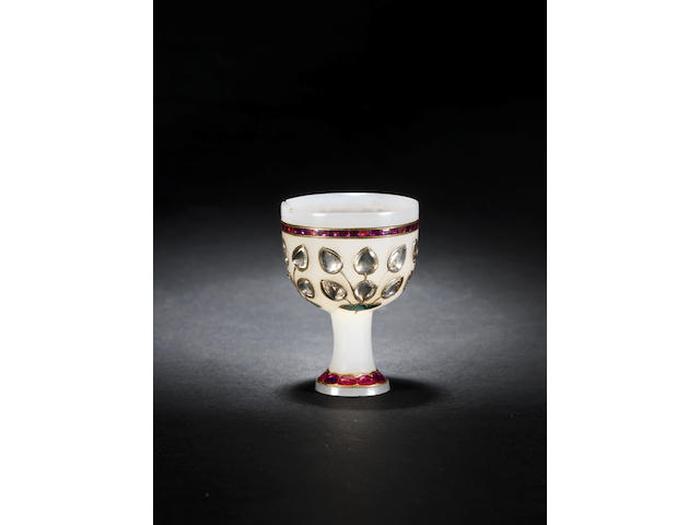 A Mughal gem-set gold-mounted jade Stem Cup Northern India, 18th Century