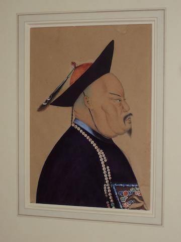 Chinese School, circa 1860 A portrait of an imperial courtier, in profile,