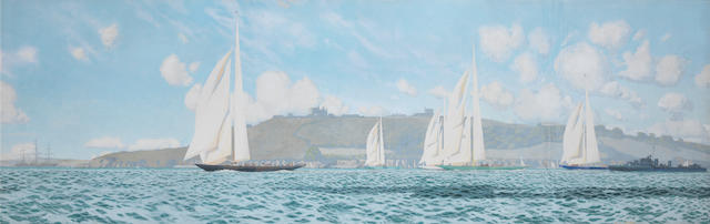 Charles Pears (British, 1873-1958) Big class yachts, with the King's cutter Britannia in the lead, heading down the Channel past Dover