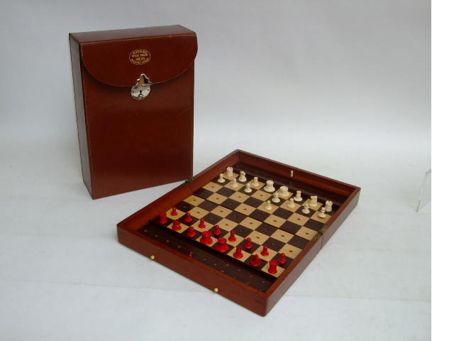 "An ""In Statu Quo"" travelling chess board and set of large size"