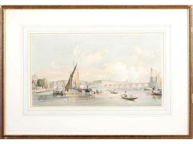 William Parrott (British, Overley 1813-1875) London from the Thames a collection of 14 colour lithographs, circa 1840's 23 x 41 cm    (14)
