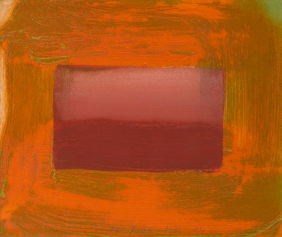 Sir Howard Hodgkin (British, born 1932) Red Print (Heenk 91) Etching with carborundum printed in orange and green, with hand colouring in helios red egg tempera, 1994, on BFK Rives, signed with initials, dated '94, numbered 174/200 in pencil lower centre, printed at 107 Workshop, 220 x 258mm (8 5/8 x 10 1/8in)(SH)
