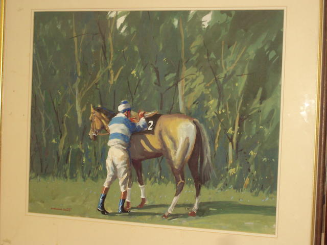 William Norman Gaunt (British, 1918-2001) Horse and jockey in a wooded paddock