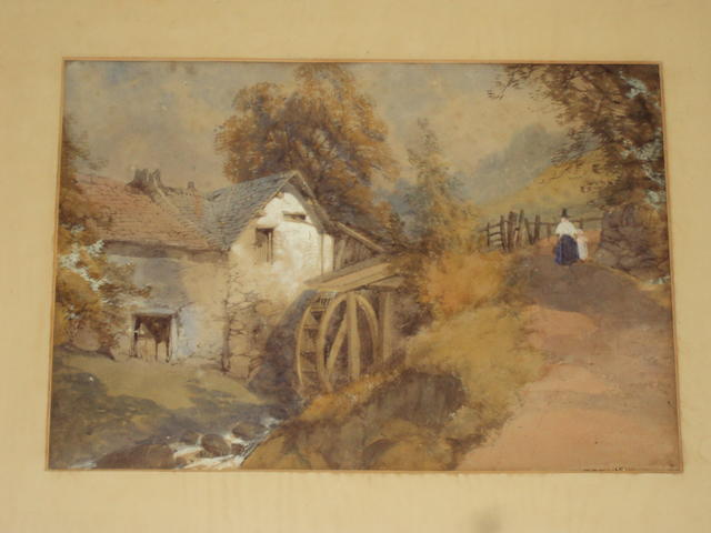 Circle of Collingwood Smith Welsh watermill with mother and child on a pathway before