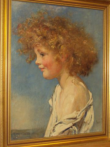 Anna Louisa Robinson Swynnerton (British, 1844-1933) Portrait of a young girl with curly hair, bust length