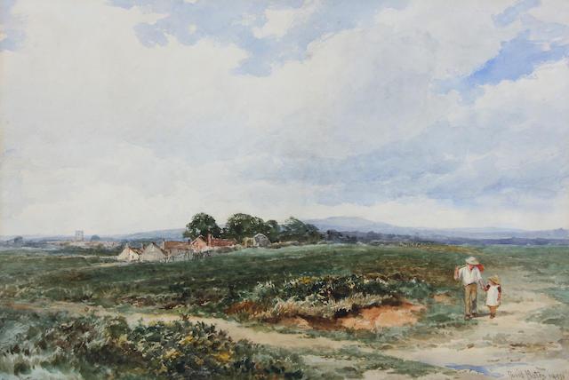 """David Bates (British, 1840-1921) """"Near Upton"""" (Glos.) 24.5 x 34.5cm."""