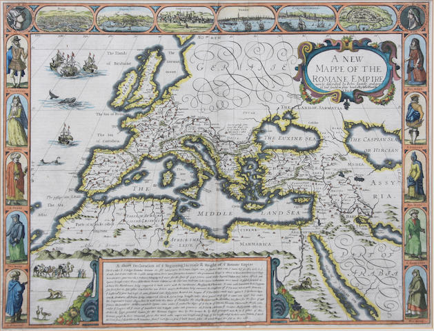Roman Empire Speed(John) A New Mappe of the Romane Empire, hand-coloured, double-page engraved map, English text verso, George Humble [c.1626] 38.5 x 50cm.