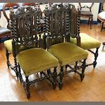 Five Victorian oak dining chairs
