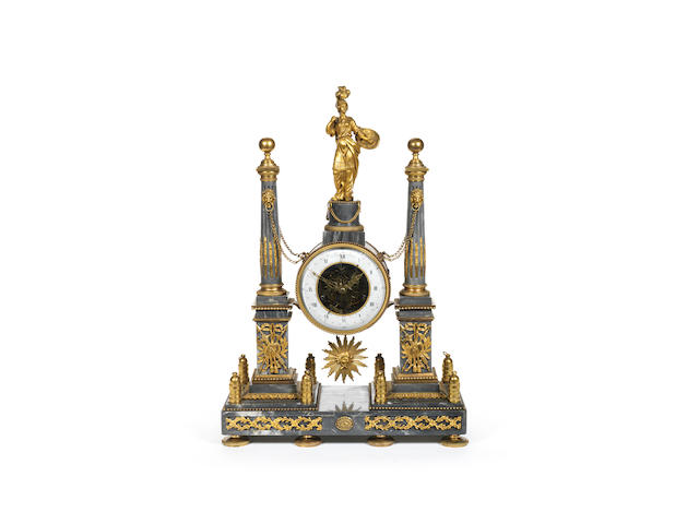 A late 18th century French ormolu mounted marble portico clock Cellier, Paris